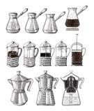 手拉的例证套咖啡准备 倾吐在酿酒者咖啡水壶法国人新闻moka罐和cezve 向量例证