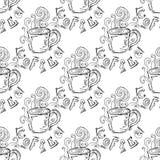 手拉的例证 一杯咖啡 无缝的模式 库存图片