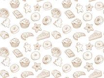 手拉的例证-与甜点和点心的无缝的样式 美味的背景 库存照片