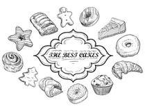 手拉的例证-好吃的东西、甜点、蛋糕和酥皮点心的汇集 在剪影样式的设计元素混合药剂的 库存照片