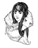 手拉的例证-有狐皮的女孩 线艺术 向量 免版税图库摄影