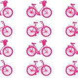 手拉的例证 桃红色自行车 无缝的模式 库存照片