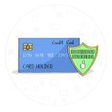 手拉的信用卡安全盾概念 库存图片