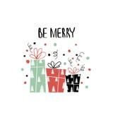 手拉的假日字法 独特的字法,固定式,礼物的圣诞节汇集贺卡的标记, scrapbooking 免版税库存照片