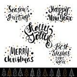 手拉的假日字法 独特的字法,固定式,礼物的圣诞节汇集贺卡的标记, scrapbooking 库存例证