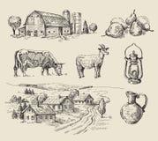 手拉的农场和的动物 库存例证
