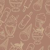 手拉的冰淇凌无缝的样式 完善的滑稽的传染媒介背景 库存图片