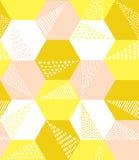 手拉的几何六角形无缝的样式 免版税库存图片