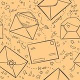 手拉的剪影例证-信件和信封 爱lette 免版税库存图片