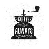 手拉的印刷术咖啡海报 免版税库存照片