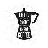 手拉的印刷术咖啡海报 免版税图库摄影