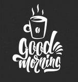 手拉的印刷术字法词组早晨好用杯子咖啡 库存图片