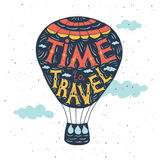 手拉的印刷术海报 在气球的行情 免版税库存图片