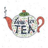 手拉的印刷术海报 仍然时钟生活茶时间 免版税图库摄影