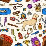 手拉的友好狗朋友传染媒介辅助似犬动物宠物修饰小狗玩具设备集合兽医戏剧的工具 免版税库存图片
