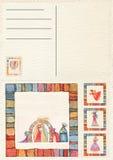 手拉的后面圣诞节明信片 免版税库存照片