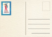 手拉的后面明信片 库存照片