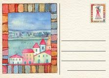 手拉的后面明信片 免版税库存图片