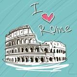 手拉的向量例证 举世闻名的Landmarck系列:意大利,罗马 我爱罗马 免版税库存照片