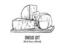 手拉的向量例证 乳酪集合无盐干酪,蓝色che 向量例证
