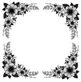 手拉的向量例证 葡萄酒装饰花卉框架 免版税库存图片