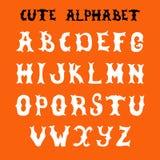 手拉的向量字体 剪影样式字母表 免版税库存图片