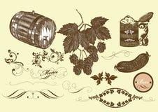 手拉的向量集合啤酒和酿造啤酒要素 免版税库存图片