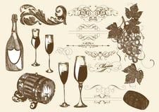 手拉的向量集合酒和葡萄酒酿造要素 免版税图库摄影