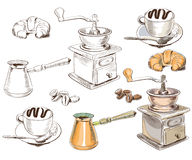 手拉的咖啡具收藏 图库摄影
