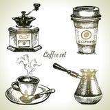 手拉的咖啡具 免版税库存图片