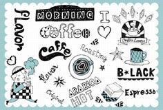 手拉的咖啡具01 免版税库存图片