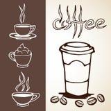 手拉的咖啡剪影 库存照片
