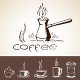 手拉的咖啡剪影 免版税库存图片