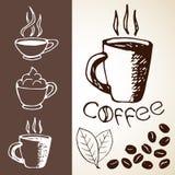 手拉的咖啡剪影 免版税图库摄影