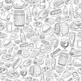 手拉的啤酒和食物,无缝的背景 向量例证