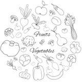 手拉的回合设置用水果和蔬菜 免版税图库摄影