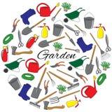 手拉的园艺工具圆的集合 免版税库存照片