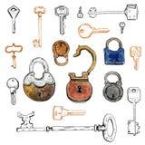 手拉的图表套风格化钥匙和锁 库存例证