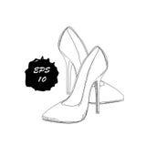 手拉的图表妇女鞋类,鞋子的例证 正式样式,着装条例 乱画,被隔绝的画的设计 图库摄影