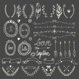手拉的图表集合 婚姻的套箭头,月桂树,花圈, 库存照片