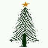 手拉的圣诞树传染媒介标志或商标 皇族释放例证