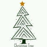 手拉的圣诞树传染媒介标志或商标 库存例证