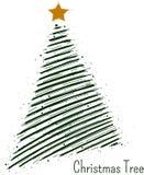 手拉的圣诞树传染媒介标志或商标 向量例证