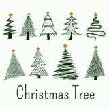 手拉的圣诞树传染媒介符号集 向量例证