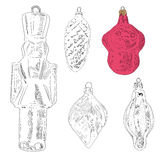 手拉的圣诞树玩具:猴子,叶子,战士,锥体 库存照片