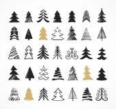 手拉的圣诞树象和元素 免版税库存图片