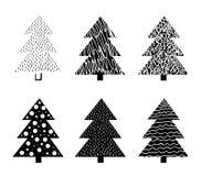 手拉的圣诞树 乱画和剪影 免版税库存照片