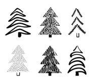 手拉的圣诞树 乱画和剪影 库存图片
