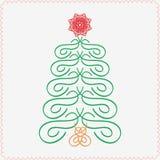 手拉的圣诞树 印刷和 免版税库存图片