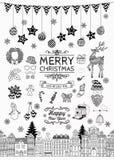 手拉的圣诞节乱画象和元素 库存照片